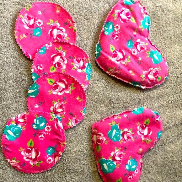 Handmade new reusable nursing pads with flax bags